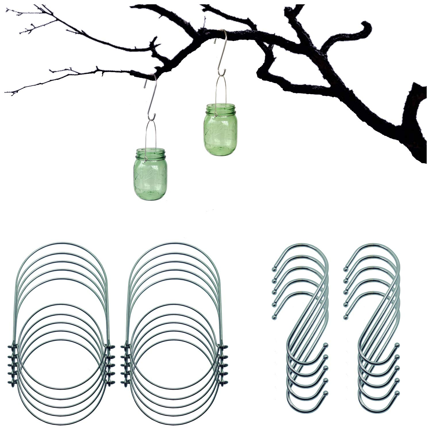 Mason Jar Wire Hangers (Handle-Ease),10 Pack Stainless Steel Handle Hangers and S Hooks for Hanging,Great for Regular Mouth Canning Jars,Solar Mason Jar Lights Lanterns (10Pack-Silver, Regular Mouth)