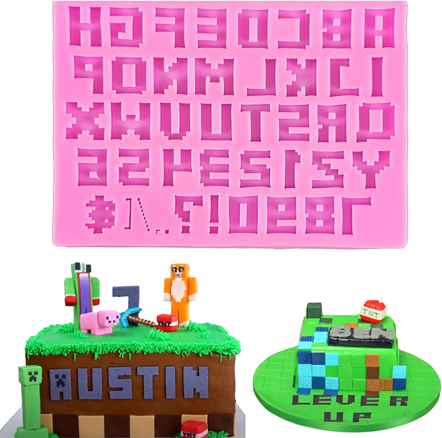 Mity rain Video Game Alphabet and Number Fondant Silicone Mold Capital Letter Punctuation Candy Chocolate Mold for DIY Gumpaste SugarCraft, Cupcake Topper, Game Theme Party Cake Decoration