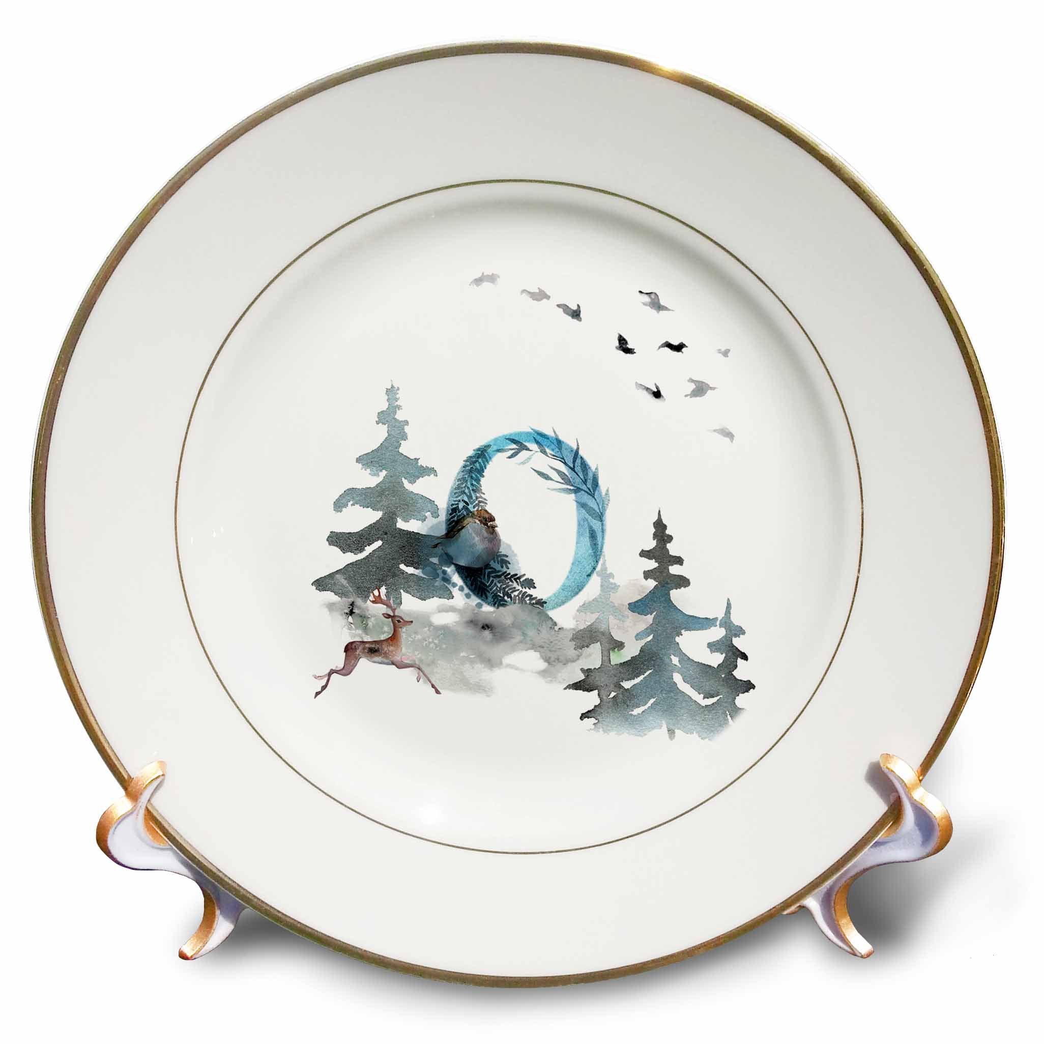 3dRose cp_275510_1 Letter O Wood Animal Watercolor Monogram Personalized Initial Dinner Plates, 8'', Clear