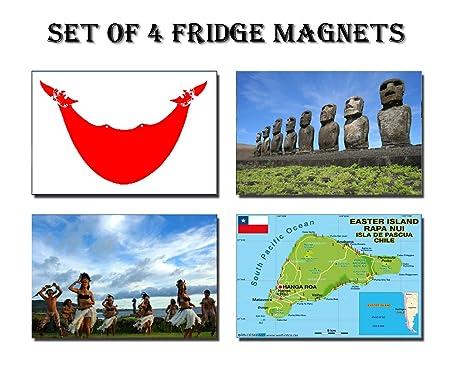 Set de 4 imanes de nevera isla de Pascua imanes para nevera diseño ...