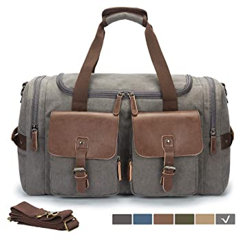 effa73eb31e Amazon.com  WULFUL Canvas Travel Duffel Bag Oversized Luggage Leather  Overnight Bag Tote Weekender Bag  WOOLFU