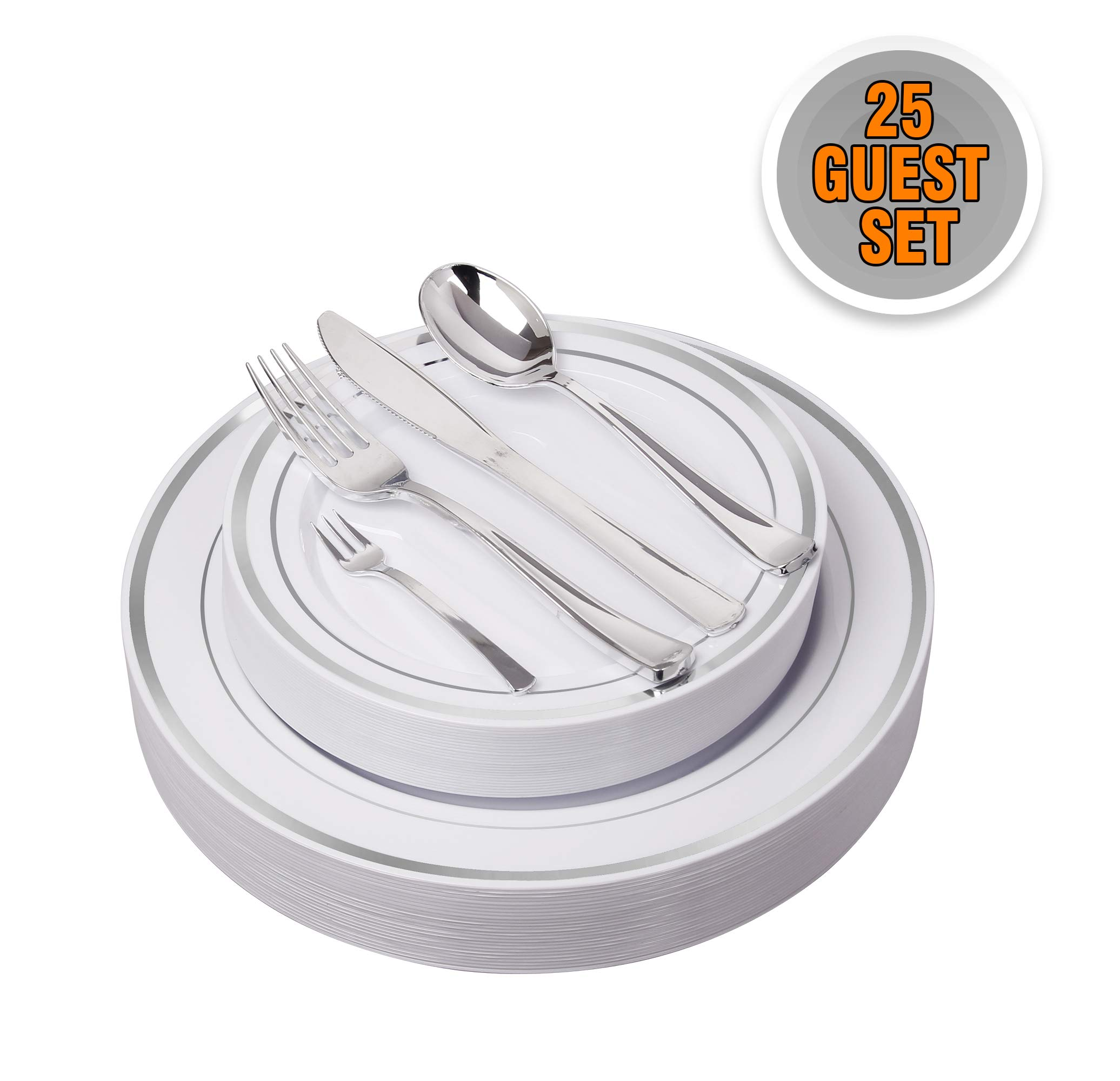 125 Pieces Premium Quality Heavyweight Tableware/Elegant Plastic Disposable dinnerware: 25 Dinner Plates, 25 Salad or Dessert Plates & 25 Polished Silver Forks Knives & Spoons - Bonus 25 Dessert Forks by AZURIWARE