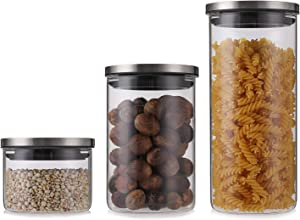 Yarlung 3 Pack Glass Canisters Set with Stainless Steel Lids, Kitchen Storage Jars Pasta Containers for Dry Food, Liquid, Cereal, Spaghetti, Beans, Snacks, Honey, Button Control