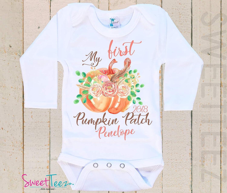 2e6dadd6 Amazon.com: Personalized First Pumpkin Patch Shirt, Pumpkin Patch Baby  Bodysuit, My First Pumpkin Patch Outfit Baby Girl Gift For Baby Girl:  Handmade