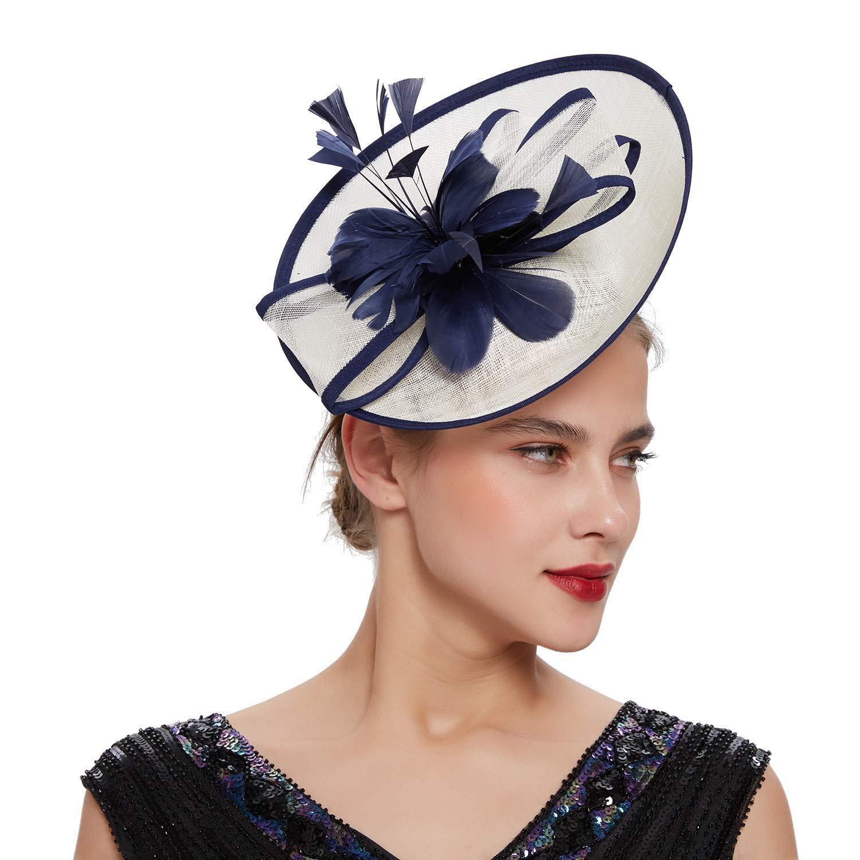 Coucoland Fascinators Sombrero para mujer, elegante, pluma, fascinador, diadema, para boda, cóctel, té, fiesta, Derby, cabello, accesorios, mujer, carnaval, disfraz, accesorios