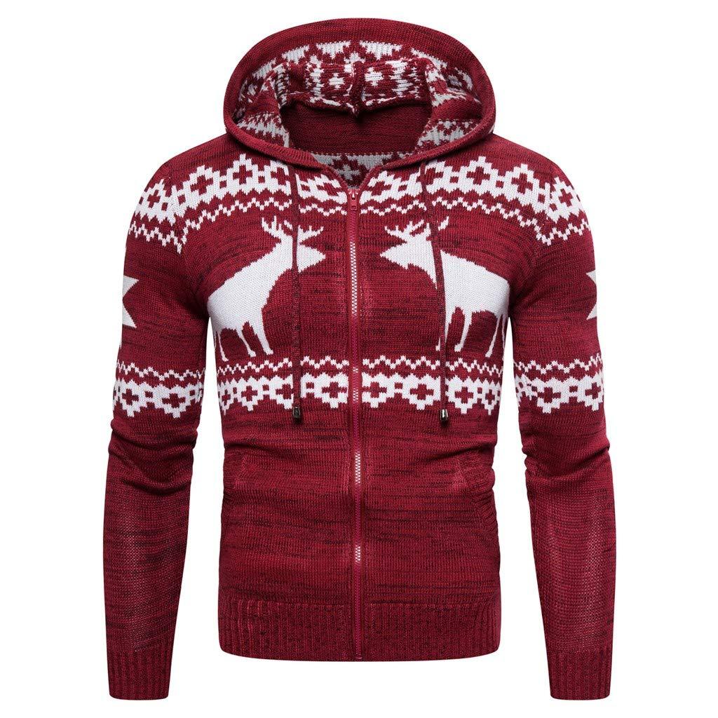 FEDULK Men's Christmas Ugly Sweater Hoodie Zipper Reindeer Print Knitting Long Sleeve Pullover Blouse(Red, Medium) by FEDULK