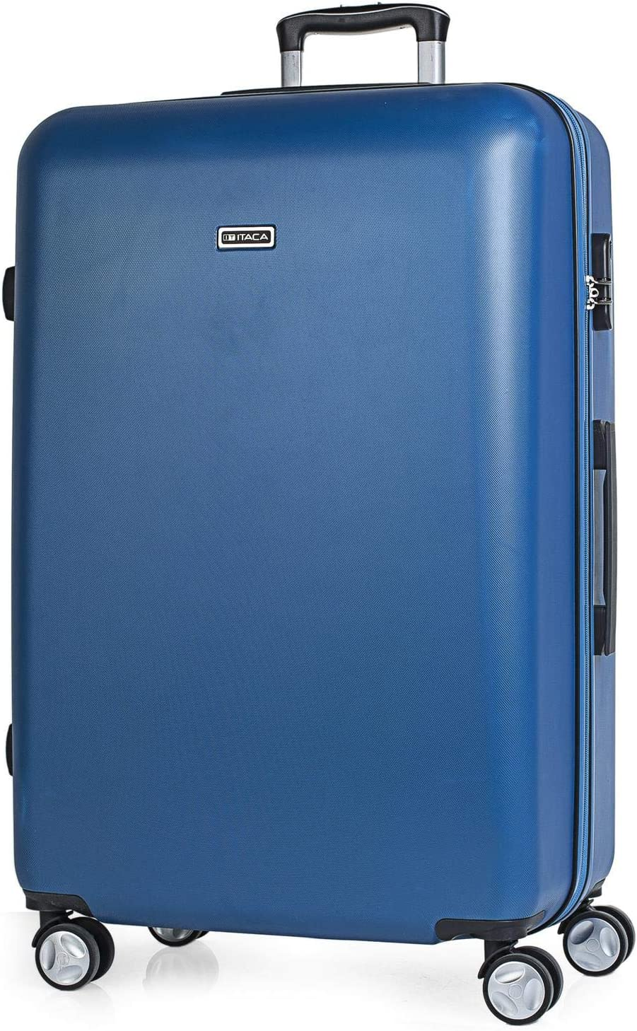 Manche t/élescopique ITACA 4 Roues Doubles T58070 Robuste et l/ég/ère Rigide Color Argent/é Extensible 2 anses r/étractables r/ésistante Grande Valise XL Trolley 70 cm en ABS Grande capacit/é