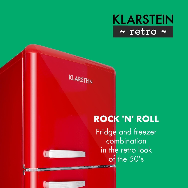 Klarstein Audrey Retro - Combinación nevera y congelador, Diseño ...