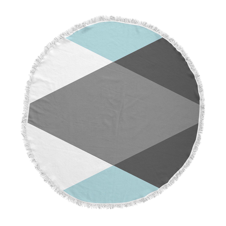 Kess InHouse Suzanne Carter Diamonds Gray Blue Round Beach Towel Blanket