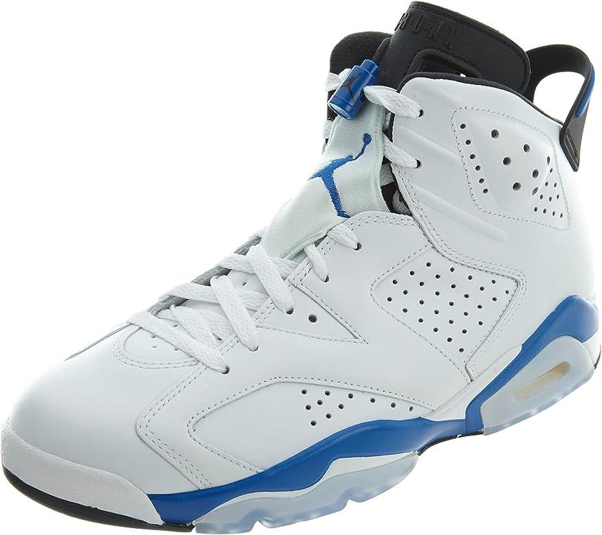5f23b2c262a Amazon.com | Jordan Air 6 Retro Men's Shoes White/Sport Blue-Black ...