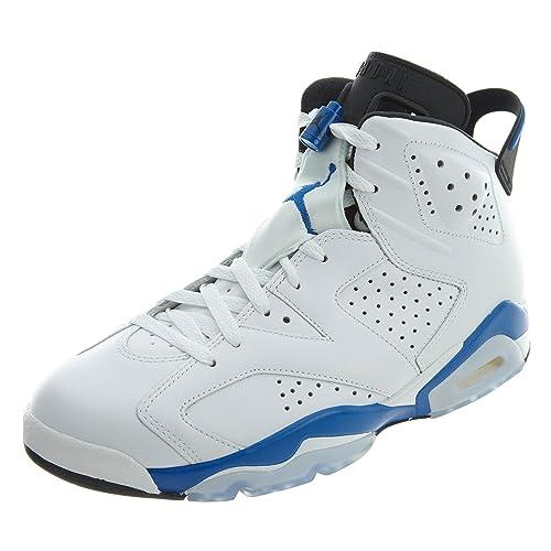 b40628aafb89 Nike Air Jordan 6 Retro, Chaussures Homme, (Blanc/Sport Bleu-Noir