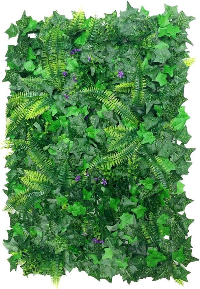 Hojas de césped artificiales para decoración de plantas verticales, 40 x 60 cm