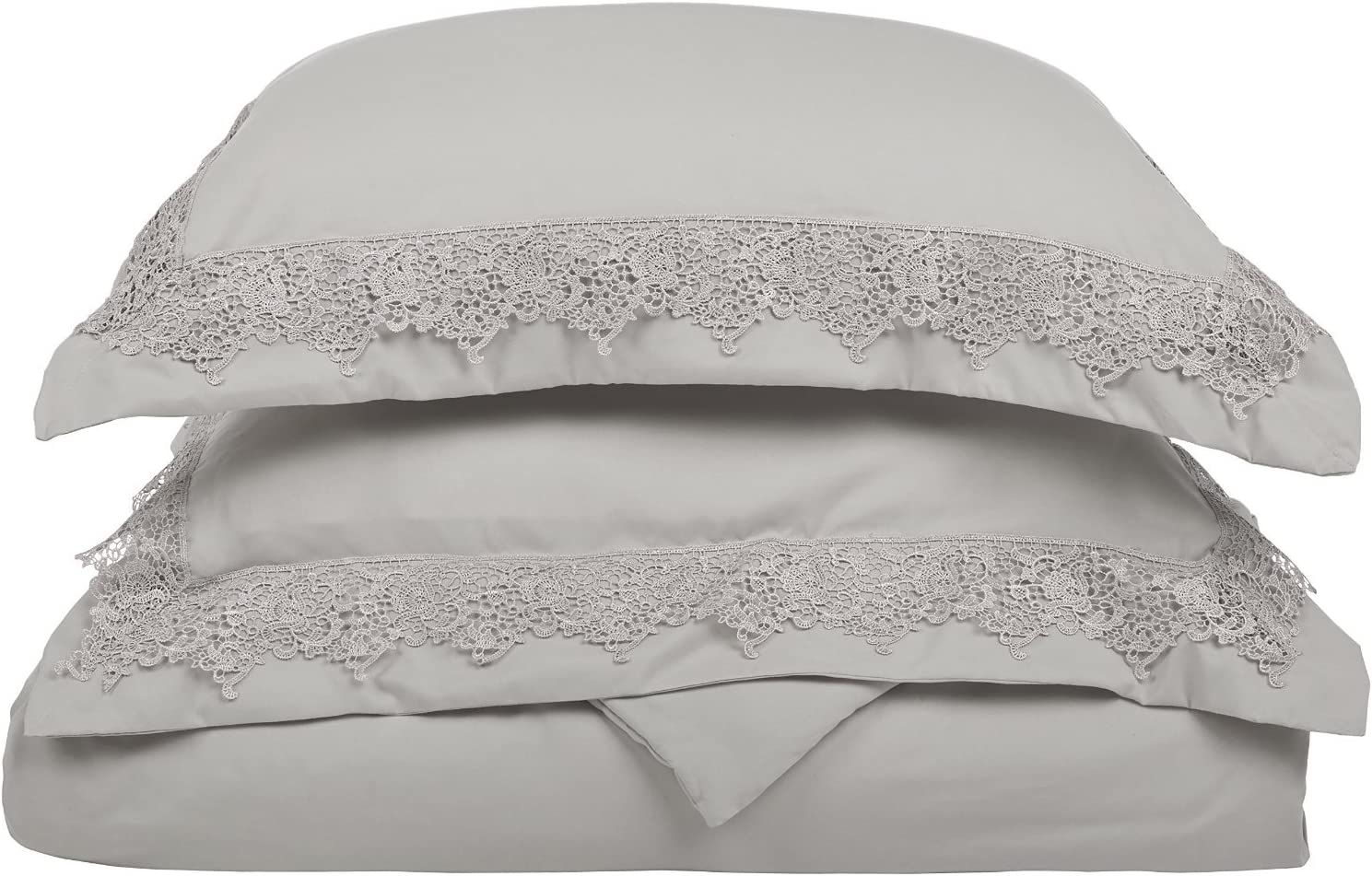 SUPERIOR Regal Lace Embroidery Microfiber Duvet Cover Set, Gift Box, Full/Queen, Grey