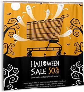 lkjhg478 Shower Curtain,Halloween Sale Background Bath Curtain Set with Hooks