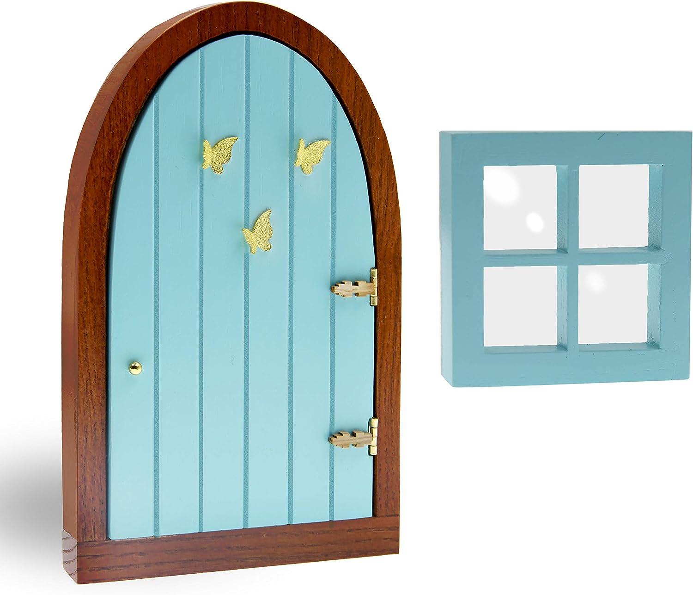My Enchanting Garden Fairy Door and Window for Tree Trunk - Whimsical Yard Art Sculpture Decoration, Garden Décor, Miniature Wooden Fairy Garden Window and Door Kit
