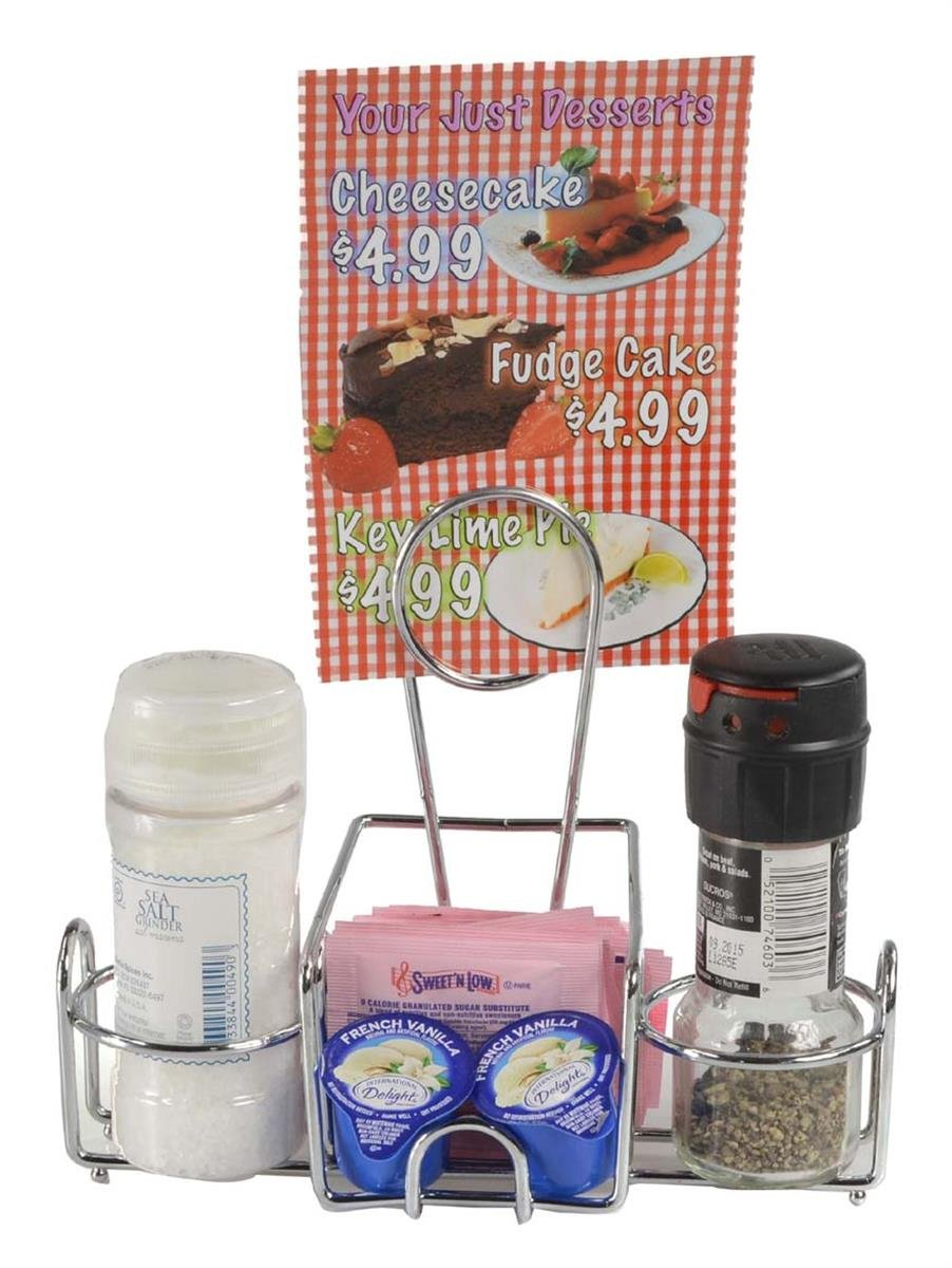 Condiment Stands with Menu Holder, 2 Round Side Compartments and Center Storage Area for Sweeteners, Steel (Chrome-Colored) - Set of 10 by Displays2go (Image #2)