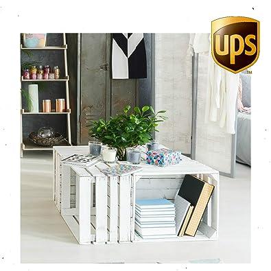 Eza Vision Handgefertigte 4 Stück weiß Holz Storage ...