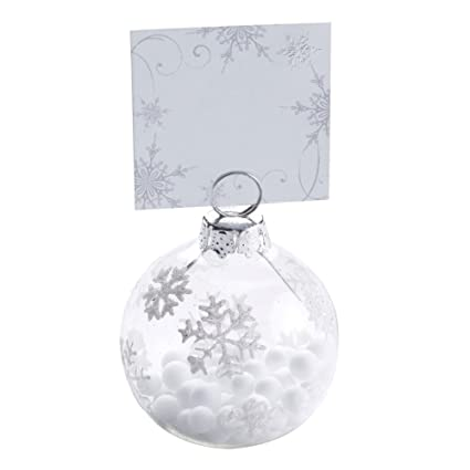 Neviti Bauble Place Card Holder Wood Silver White 4 X 4 X 6 Cm