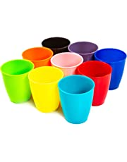 Youngever 8 Ounce Kids Cups, 9 Pack Kids Plastic Cups, 8 oz Kids Drinking Cups, Reusable Plastic Cups, Microwave Safe, Dishwasher Safe, BPA Free Cups for Kids Toddlers, Unbreakable Toddler Cups