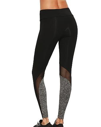 e3b8811e8a67 Capri Trousers for Women High Waist Leggings Workout Slimming Summer Yoga  Pants Mesh Running Gym Tights  Amazon.co.uk  Clothing