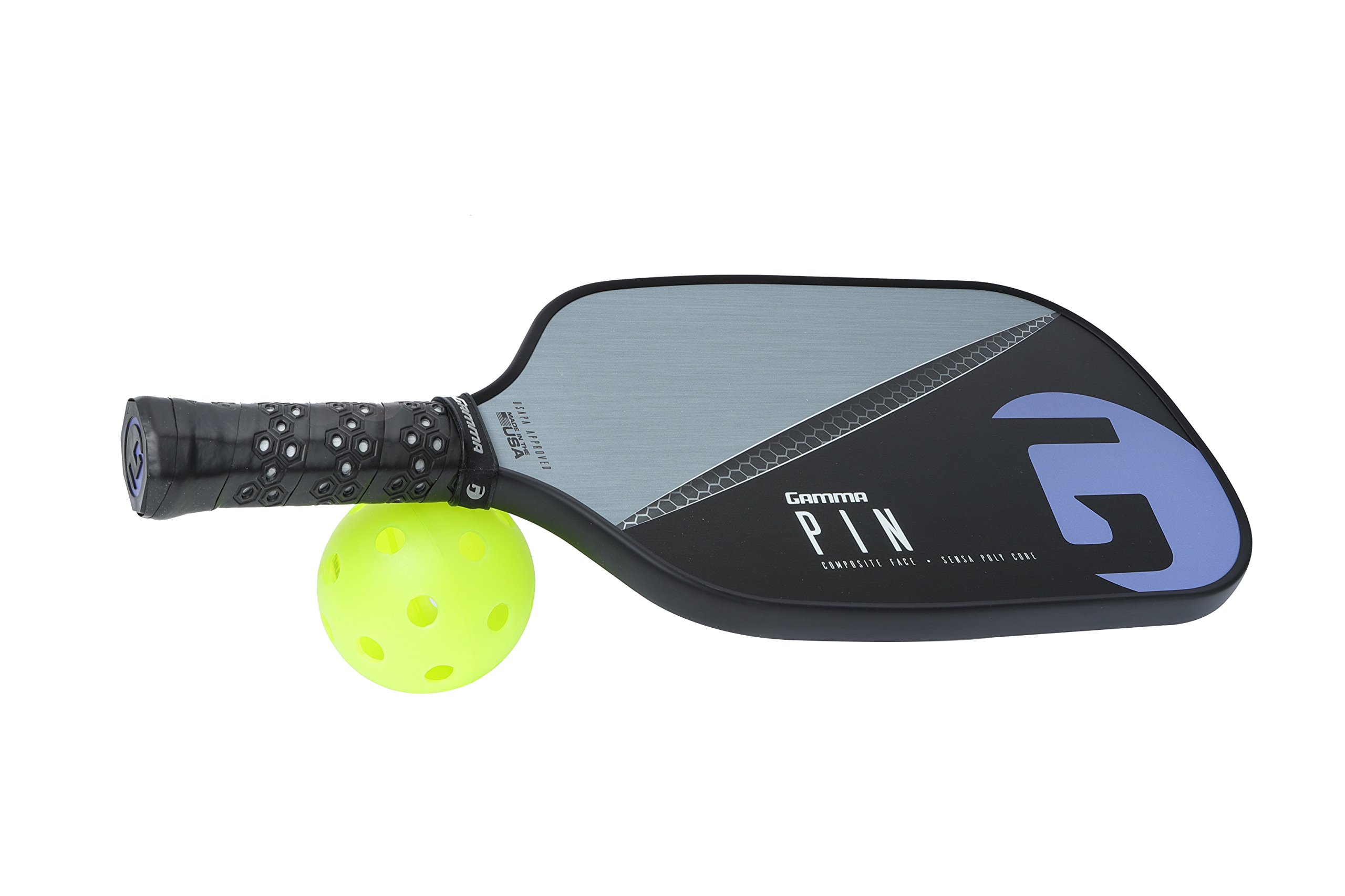 Gamma Pin Elongated Pickleball Paddle: Pickle Ball Paddles for Indoor & Outdoor Play - USAPA Approved Racquet for Adults & Kids - Pink/Blue by Gamma (Image #6)