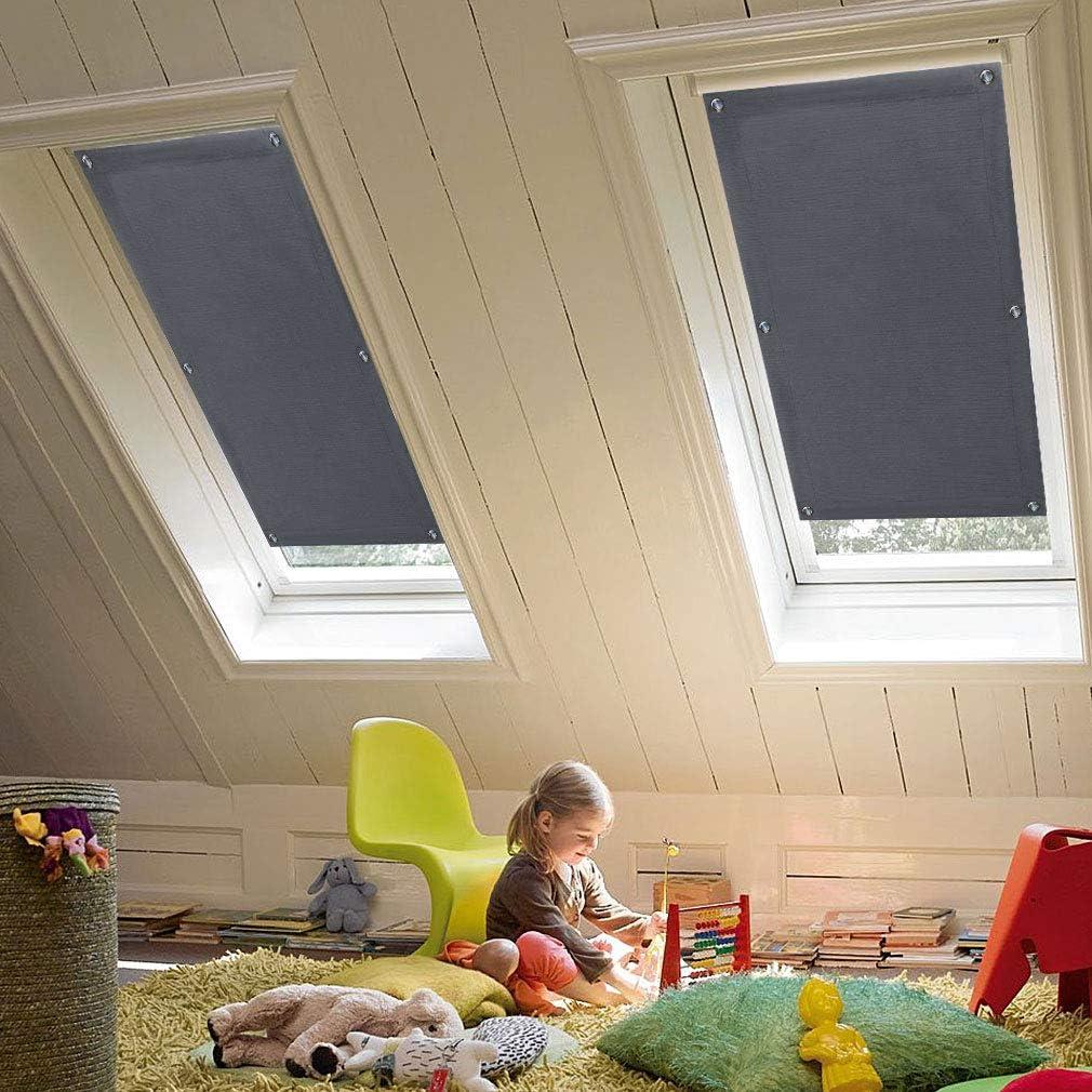 KINLO 96 x 93cm Techo Solar Persiana Enrollable Aislamiento Térmico Protector Solar Apagón para Claraboya Ventanilla del Coche Protección UV con Ventosa sin Perforación o Pegamento Color Gris