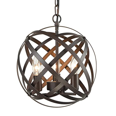 Dazhuan Antique 3-Lights Candle Style Chandeliers Metal Cage Globe Sphere  Pendant Light Ceiling Hanging - Dazhuan Antique 3-Lights Candle Style Chandeliers Metal Cage Globe
