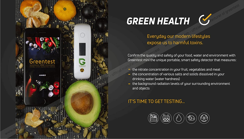 Greentest 3in1 mini Portátil detector de radiación + probador de nitrato + Prueba de agua TDS para smartphone Nitrate Radiation detector geiger counter ...