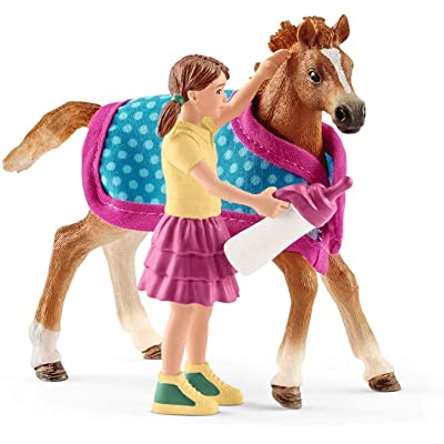 SCHLEICH Horse Club Foal with Blanket 4-Piece Educational Playset for Kids Ages 5-12: Schleich: Toys & Games