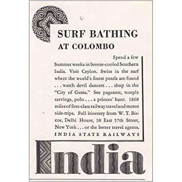 2d7760980 Amazon.com: RelicPaper 1935 India State Railways: Surf Bathing at ...
