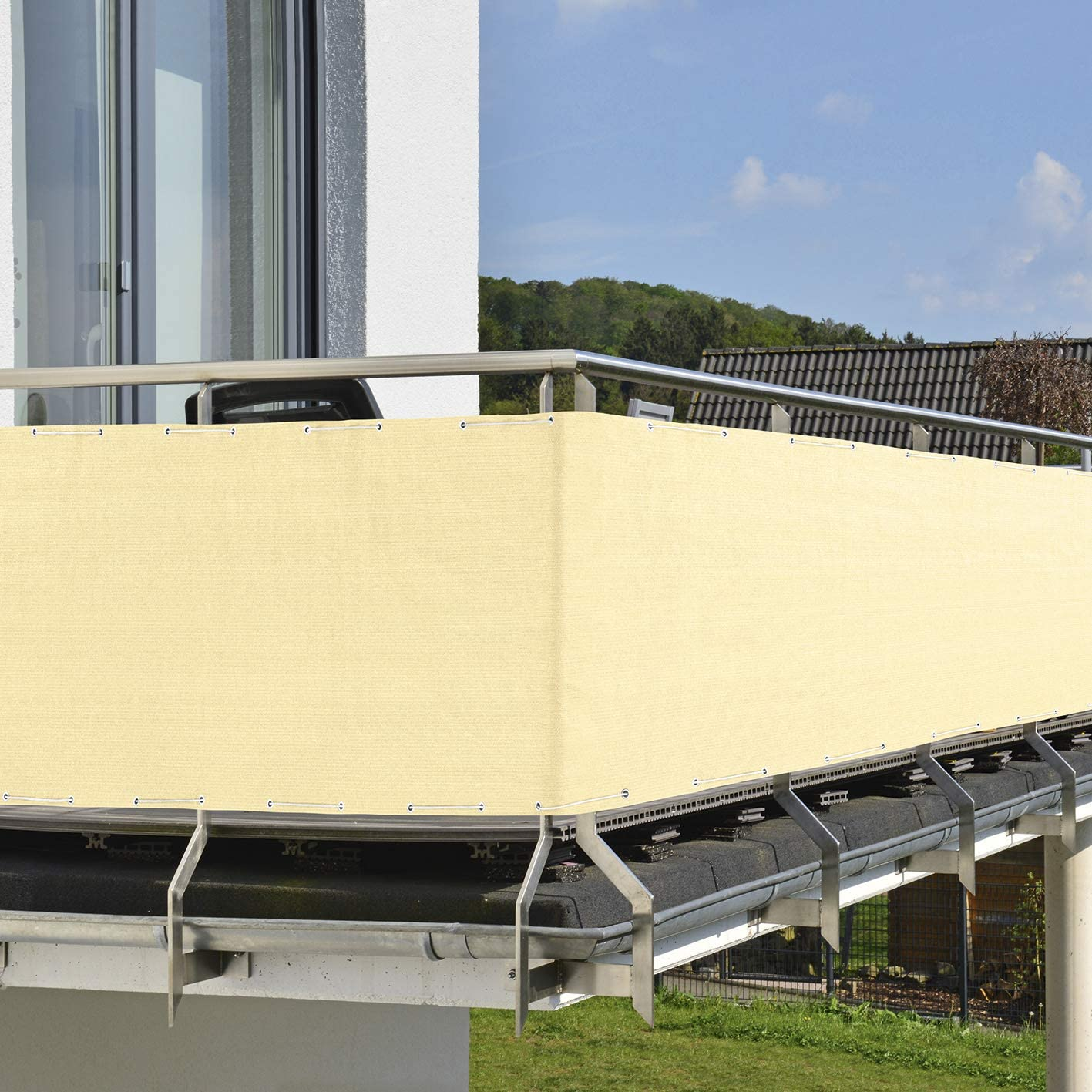 Resistente alle intemperie e ai Raggi UV con Cordino di 12 m PRIMA GARDEN Balcone Privacy e Protezione dal Vento 500 x 90 cm Bianco Sporco Opaco Idrorepellente e Resistente agli Strappi