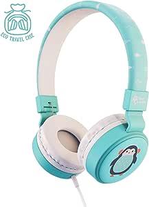 Planet Buddies Kids Headphones Penguin, Volume Limited Childrens Headphones Girls and Boys - Blue