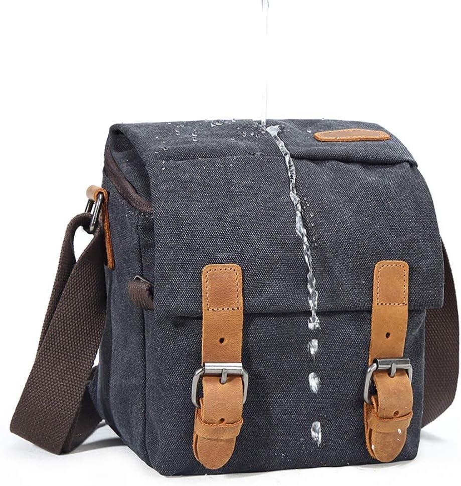 MDYYD Mens Laptop Messenger Bags Canvas Bag Single Shoulder SLR Photography Digital Camera Bag SLR Camera Bag Waterproof Water Resistant Shoulder Bag Tocode Leather Color : Gray