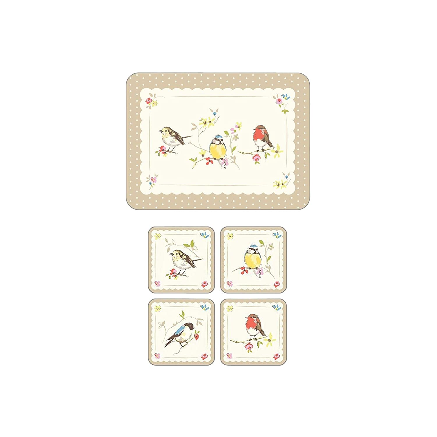 LUXURY BRIGHT COUNTRY ROBIN BIRDS POLKA DOTS 4 X COASTERS & PLACEMATS CORK BACKED Birds Unique
