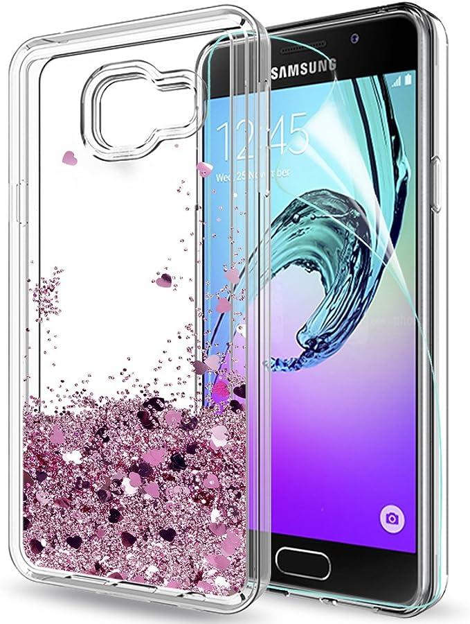 LeYi Coque Galaxy A3 2016 avec Film de Protection écran, Fille Personnalisé Liquide Paillette Transparente 3D Silicone Gel Antichoc Kawaii Protection ...