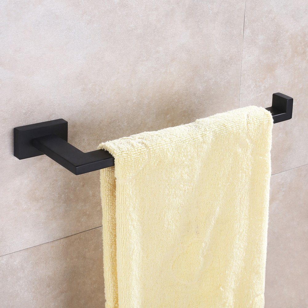 Bath Towel Holder, Aomasi SUS304 Stainless Steel Half Open Face Towel Long Bar, Contemporary Square Kitchen Bathroom Accessories, Stylish Matte Black by Aomasi (Image #2)