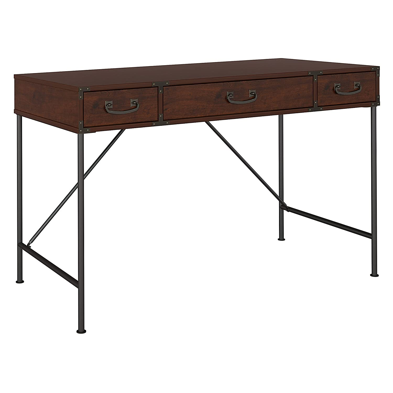 kathy ireland Home by Bush Furniture Ironworks 48W Writing Desk in Coastal Cherry