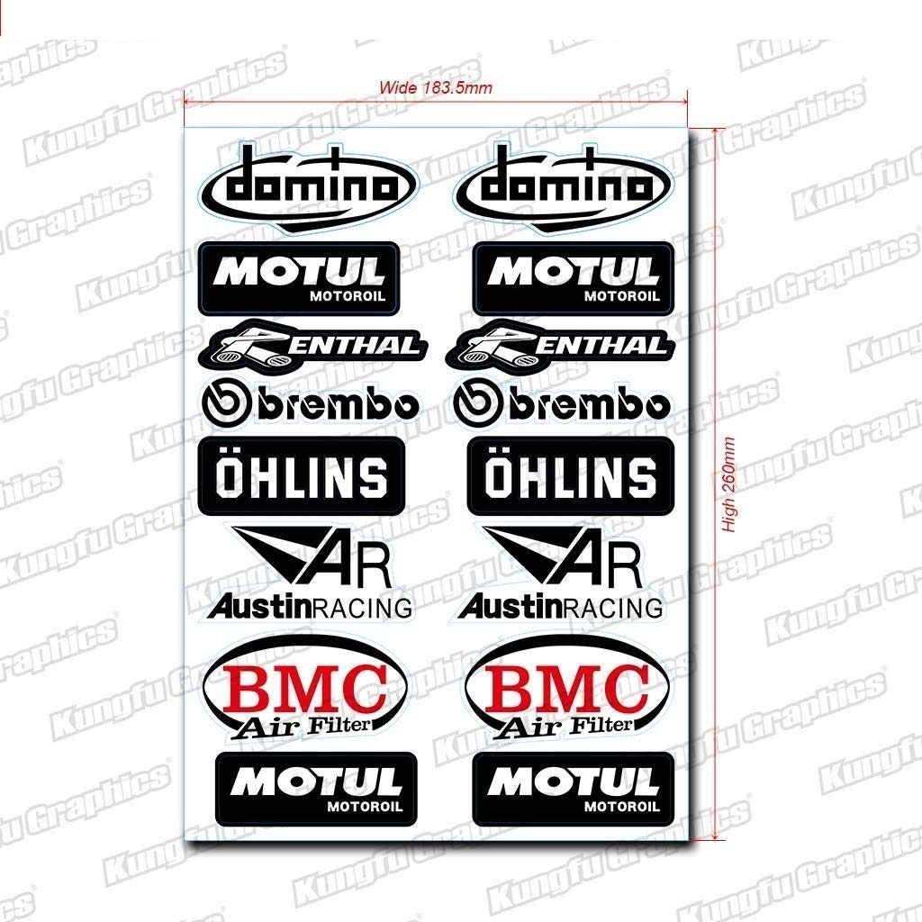 Orange Kungfu Graphics Micro Sponsor Logo Racing Sticker Sheet Universal 7.2x 10.2 inch
