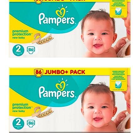 Pampers Pañales de tamaño 2 – Pack de valor de 2 paquetes 86=172