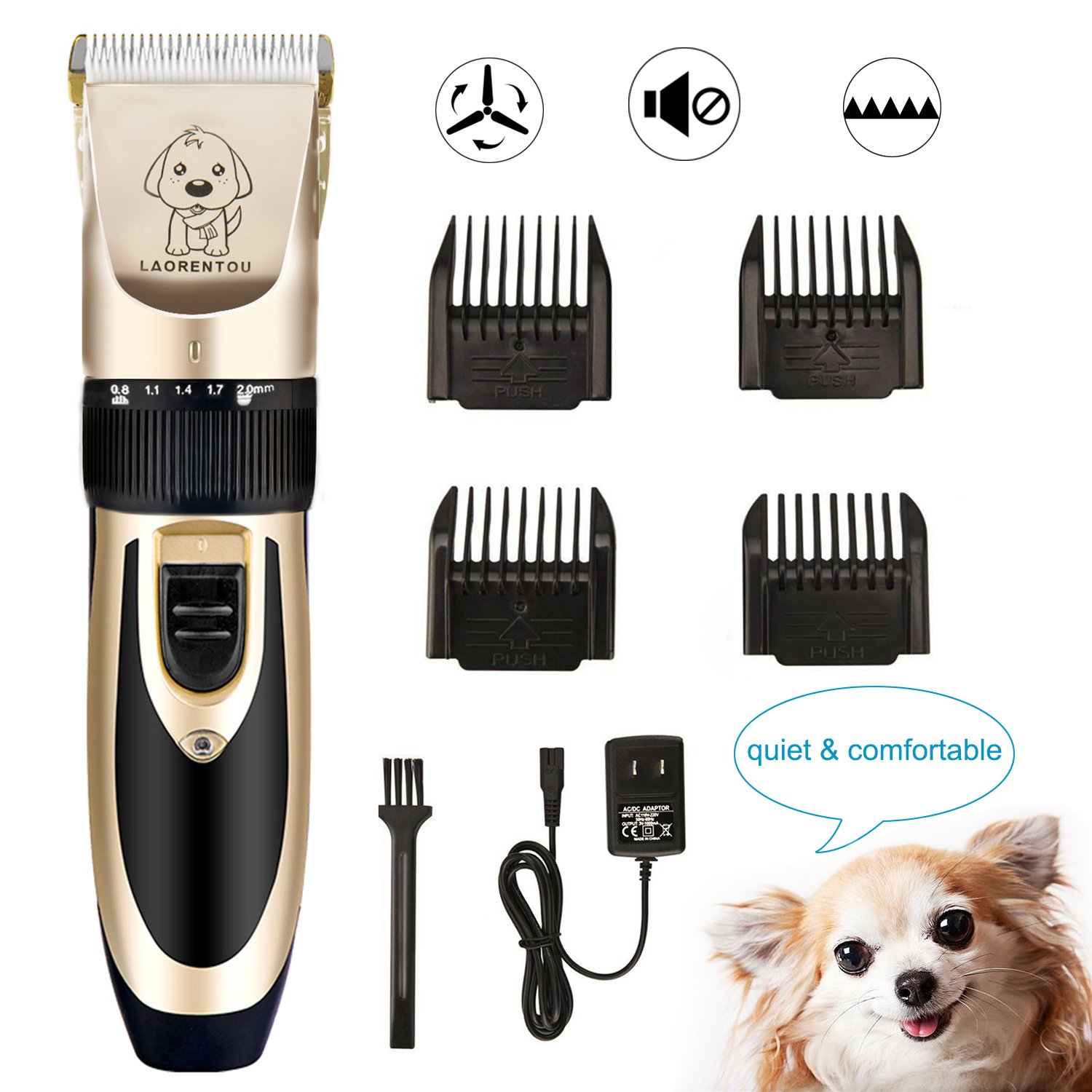 GuTe Dog Clippers,Low virbation and Noise Rechargeable&Cordeless Pet Grooming Kit Hair Trimmer for Coton de Tulear,Labrador, Cavalier, Shih Tzu, Spaniel, Maltese Dogs