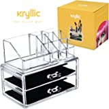 Acrylic Makeup Organizer Cosmetic Jewelry - Great for Organizing your Lipstick Nail Polish Makeup Brushes Set Holder keep your Vanity Dresser Bathroom Organized with 2 set of Drawers AcryliCase