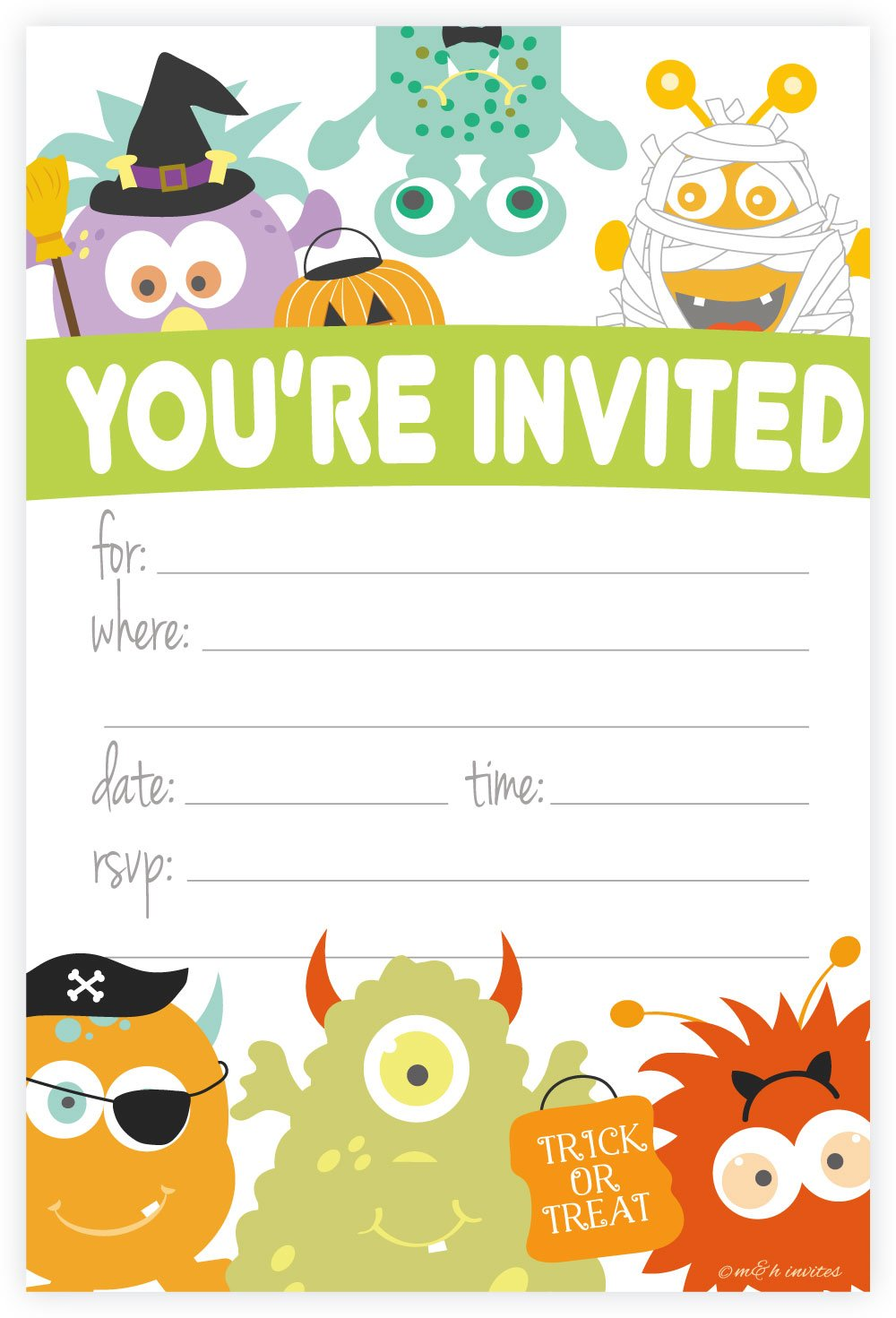 Monster Costume Halloween Themed Party Invitations - Fill In Style (20 Count) With Envelopes by m&h invites