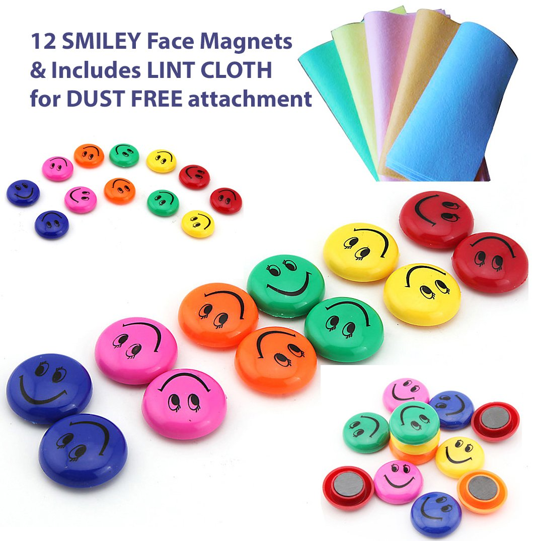 12 pcs Office Notice Board Pins, WHITEBOARD MAGNETS, Round FRIDGE MAGNETS, Smiley Face Magnets & LINT CLOTH, Schools, Call Centre, Home HKM