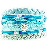 Bracelet Brésilien Ethnique Multibrins Bleu Perles Coton Brillants