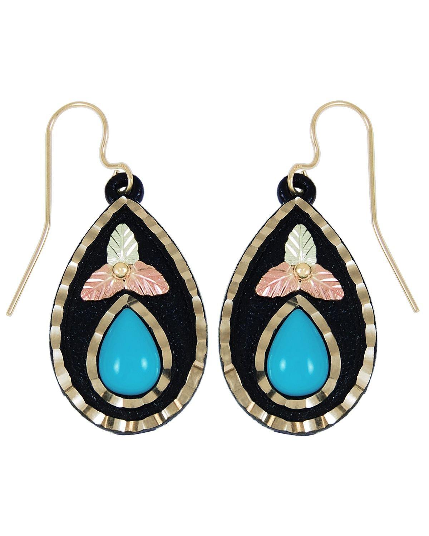 Black Hills Pear 9X6 MM Turquoise Earrings, Black Powder Coated