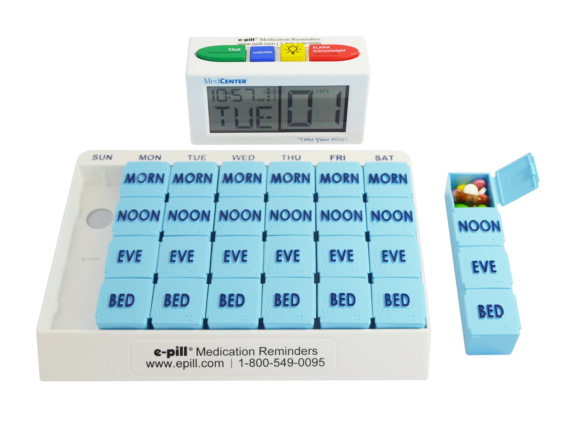 e-Pill | MedCenter Talk, Large Display, Up to 4 Alarms with 4 Compartment x 7 Day Pill Organizer, Large Capacity by e-pill Medication Reminders