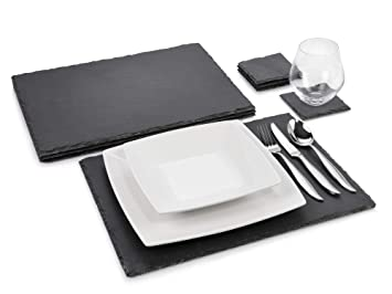 Sanger Schieferplatten Set Dinner 8 Teilig Komplettes Platzset