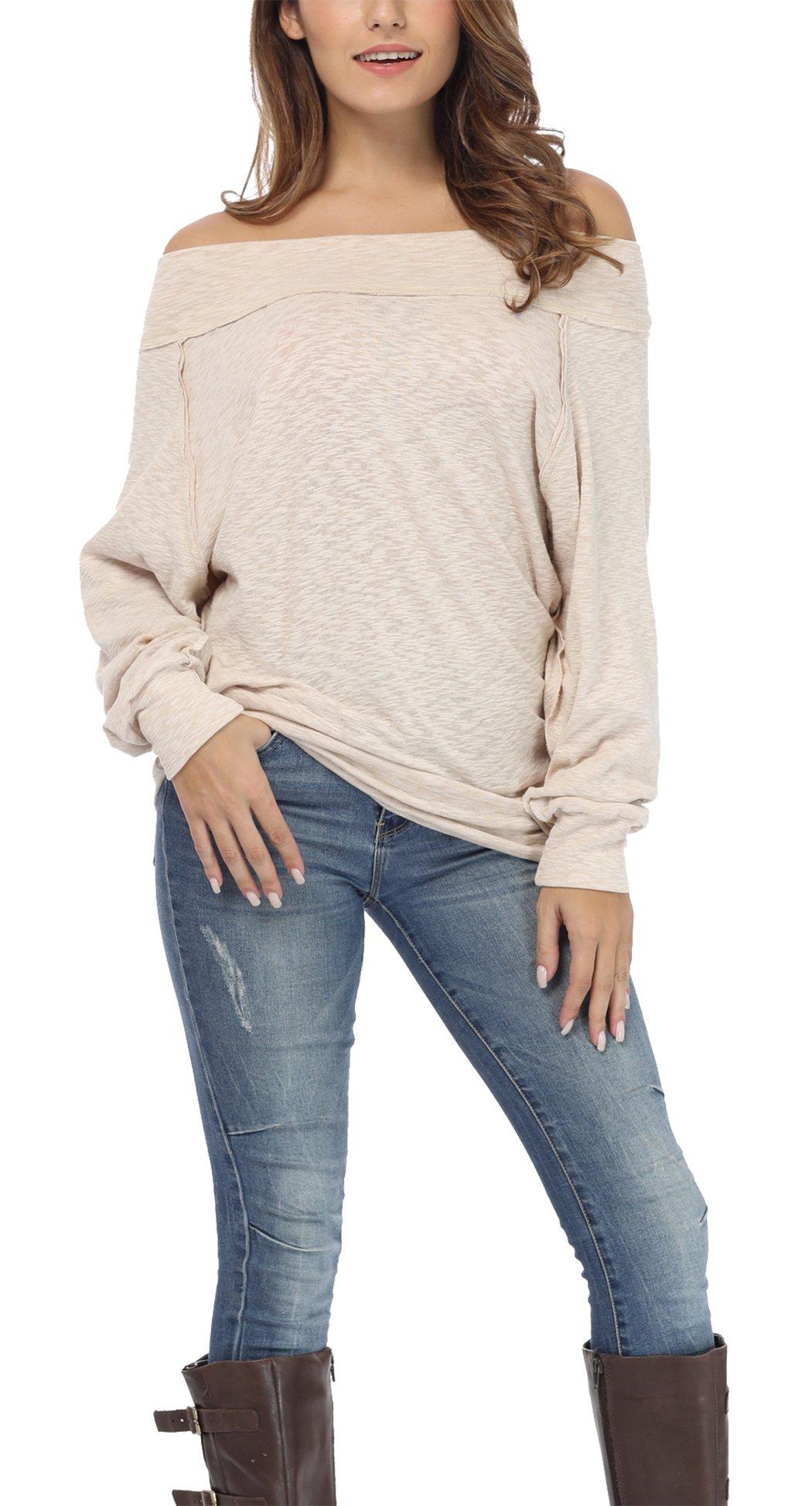 a9e41ba68ba867 iGENJUN Women's Dolman Sleeve Off The Shoulder Sweater Shirt Tops ...