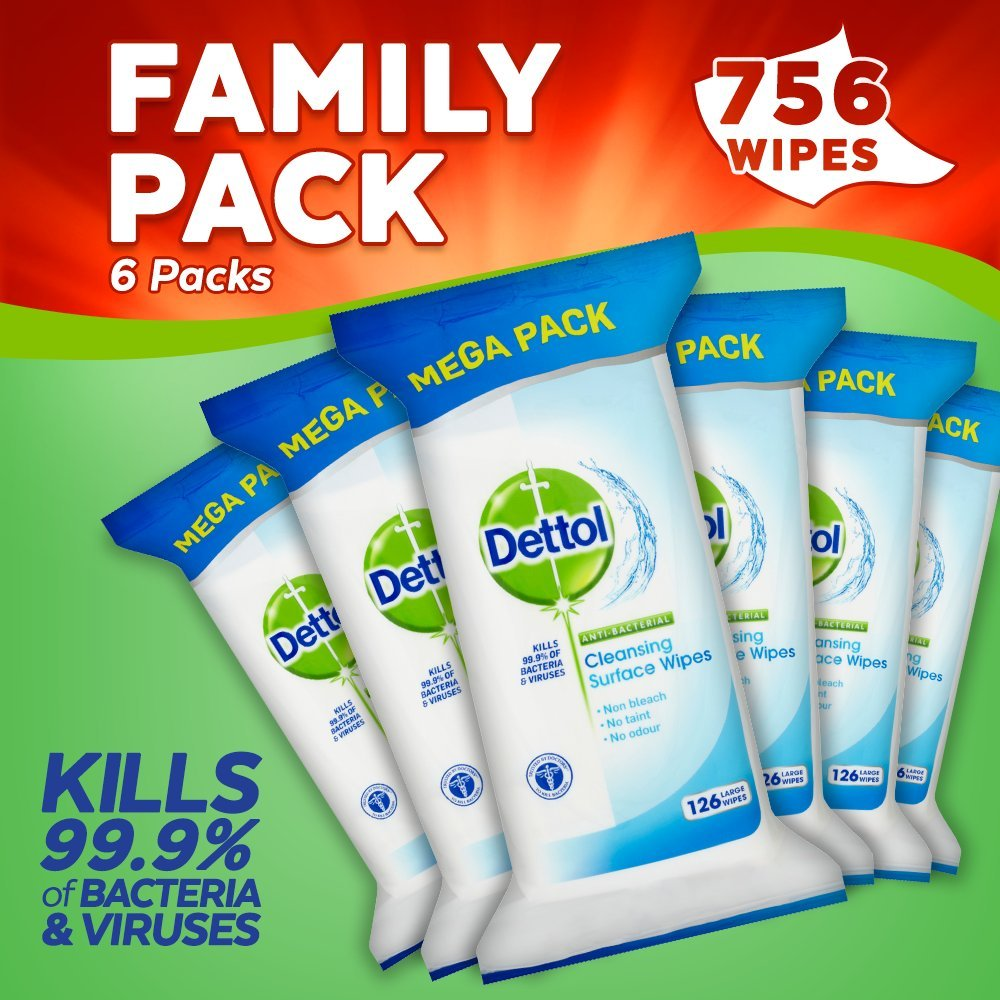 Dettol Antibacterial Surface Cleaning Wipes, 756 Wipes, Pack of 6 x 126 Reckitt Benckiser 3011051