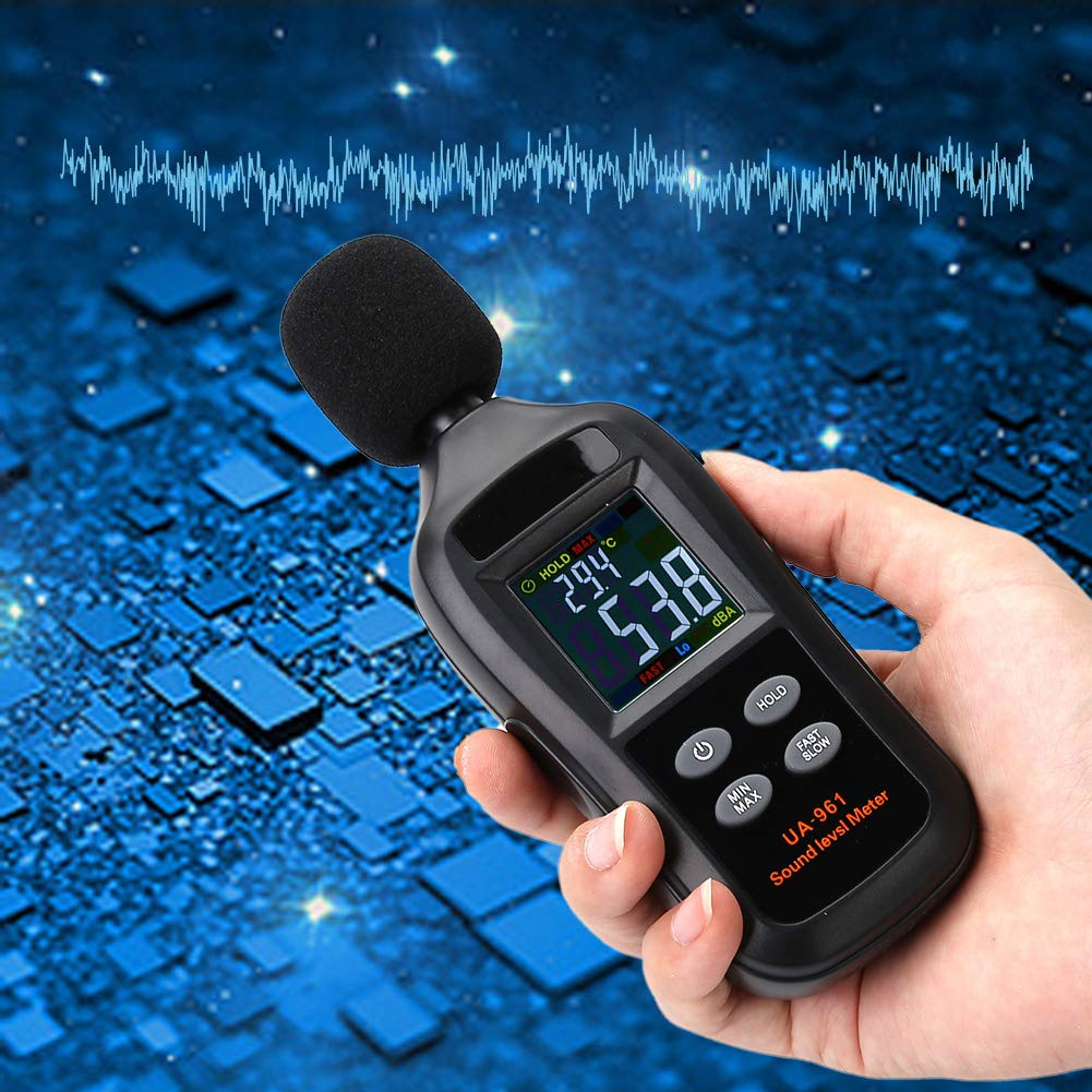 Portable Sound Meter Decibel Meter LCD Screen Noise Tester Digital for Level Recorder for Factory School with Measuring Level Range 35dB to 135dB